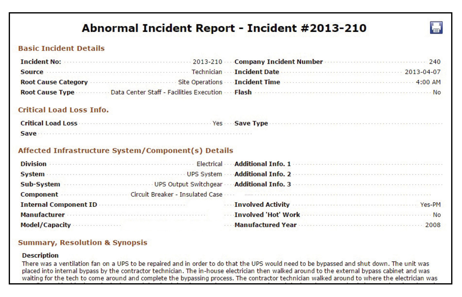 Figure 4. The overview page of the abnormal incident report selected for detailed analysis.