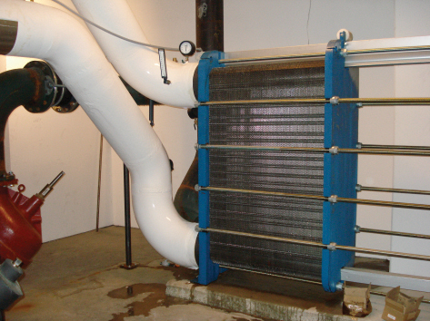 Figure 5. Traditional heat exchanger typical of a water-side economizer system.