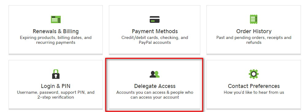 GoDaddy account manager with multiple options, including Delegate Access