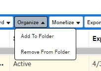 GoDaddy dropbox option for Organize with sub option Add to Folder