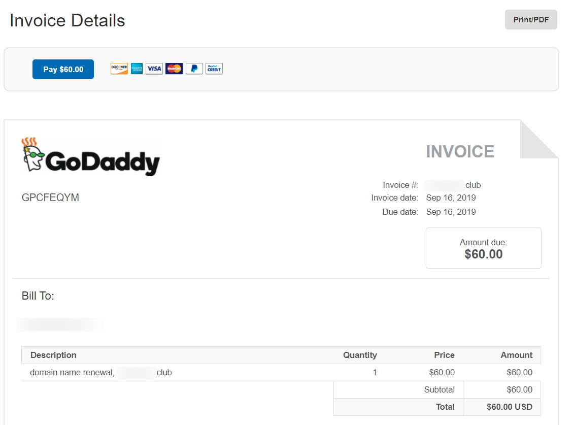 Beware this PayPal invoice for GoDaddy domains