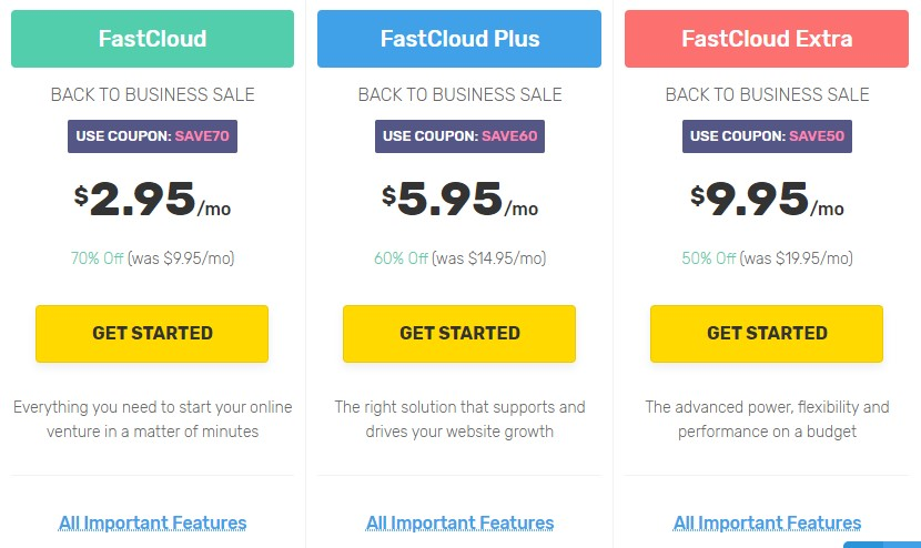 Best Web Hosting in Canada - FastComet plans