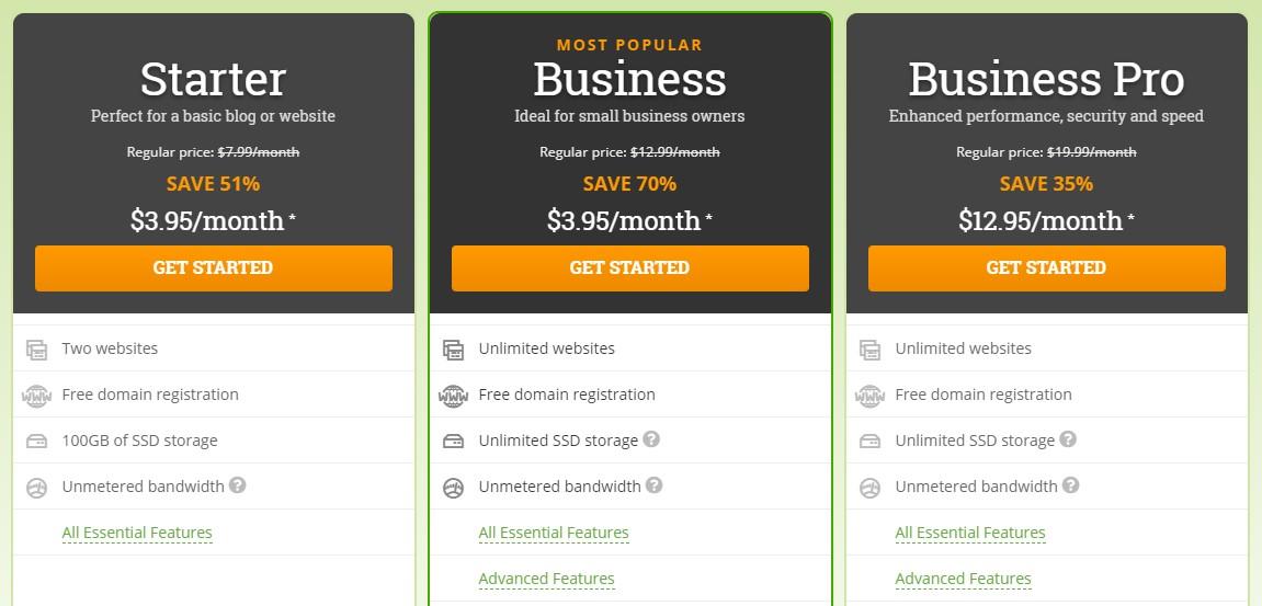 Best Web Hosting in Canada - HostPapa plans