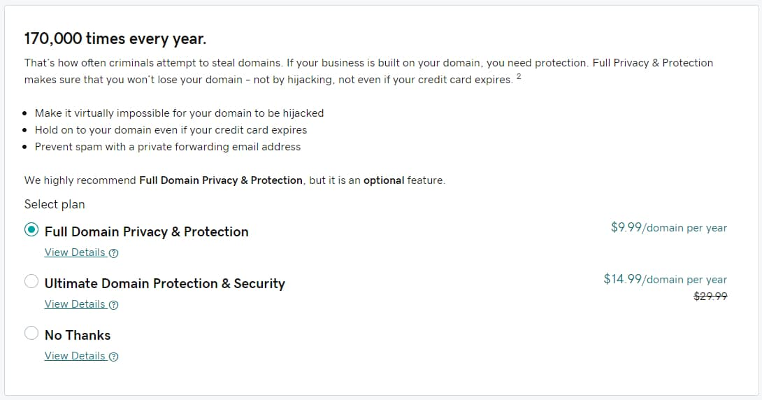 godaddy privacy options
