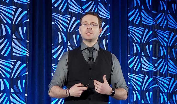 Bill Kleyman of Switch delivers the keynote address Wednesday at Data Center World in Phoenix. (Photo: Rich Miller)