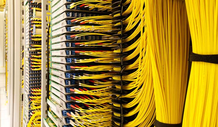 Dense network cabling inside an Equinix interconnection facility in Amsterdam. (Photo: Equinix)