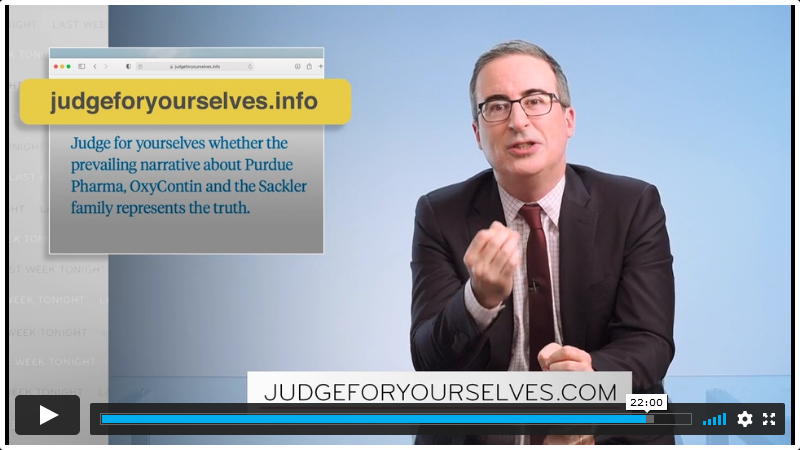 John Oliver's show bought JudgeForYourselves.com to expose the opioid crisis :DomainGang